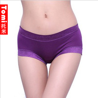 free shipping P003 full cotton modal panties bamboo fibre candy color lace brief seamless female panties new arrival