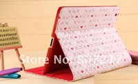 HOT SALE!Newest Hello Kitty PU Leather Case for New Ipad Ipad2, lether Case for Apple The New ipad3,Free Shipping+Wholesale