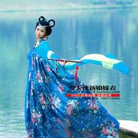 Costume clothes women's tang suit hanfu tang costume blue print elegant high waist skirt jacket costume