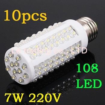 10pcs/lot 7W warm white/white 220V E27 LED Corn bulb Light with 108 led 360 degree free shipping