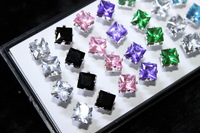 40pcs in a Box 18K Trendy Silver Stud Earrings+Square Transparant CZ Crystal(6mm) 8 Colors 7152 by CARL SHINING JEW