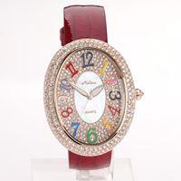 Melissa round diamond mantianxing colorful fashion digital genuine leather watchband jcmp916