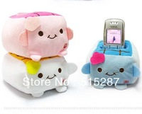 Free shipping,Hot-selling tofu cell phone holder cartoon plush mobile phone holder general at home decoration,Color random