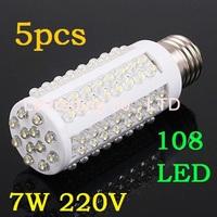 5pcs/lot 7W warm white/white 220V E27 LED Corn bulb Light with 108 led 360 degree free shipping