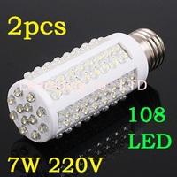 2pcs/lot 7W warm white/white 220V E27 LED Corn bulb Light with 108 led 360 degree free shipping