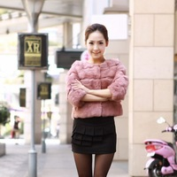 2012 o-neck high quality full leather rabbit fur short formal design fur coat