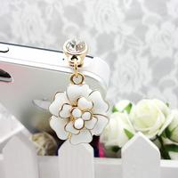Flower camellia rose flower for apple earphones hole dust plug for iphone 4s 4 mobile phone f-46