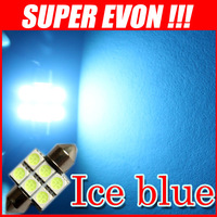 Free Shipping 30pcs festoon 6 led 31mm car bulb 12v 5050 smd lamp Ice blue CL0036#30P