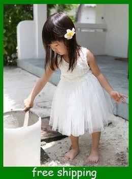Sunlun Girls' White Roses Vest Dress Beautiful Little Girls Princess Dress children birthday gifts