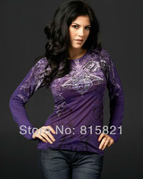 Free Shipping SF printed T shirt Women 2013 ,fashion purple long sleeve tee tops t-shirt ,wholesale women's t-shirts BLWHSA