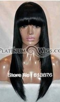 Hot Sell ! Platinum Wigs Black yaki wig w/ bangs -18 inches #1