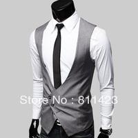 2013 men's clothing vest slim men's suit vest black deep v neck vest men's