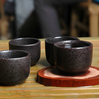 Japanese style istikan ceramic cup glass handmade kung fu tea advanced black glaze small