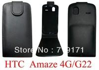 10pcs/lot free ship New Black Shine leather case for HTC G22 Amaze 4G ,Pouch case   +1pcs film