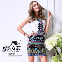 Original design 2013 spring women's y332 patchwork print slim one-piece dress