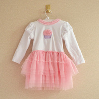 Female  baby  and autumn yarn one-piece  princess  layered  puff  birthday