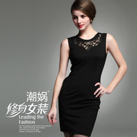 2013 Women summer y96 carved lace patchwork slim tank dress one-piece dress