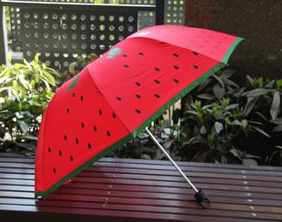 Free shipping sweet ovely Watermelon red umbrella creative triple folding umbrella sum/rain umbrella(China (Mainland))