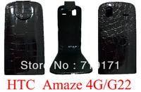 10pcs/lot free ship New Croco leather case for HTC G22 Amaze 4G ,Pouch case  +1pcs film