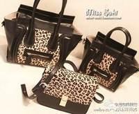 Double faced 2013 fur leopard print smiley face bag female bags one shoulder women's handbag