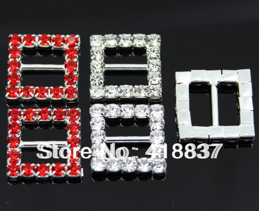 50pcs 15mm Square Wedding Invitation Silver Clear Rhinestone Buckle Diamante Ribbon Slider(China (Mainland))