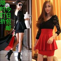 2013 new spring and summer sexy evening long-sleeve lace dress black red  2colors fashion dresses