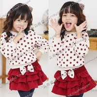 2014 Direct Selling Limited Freeshipping Coat Spring Polka Dot Bow Girls Clothing Child Batwing Shirt Layered Dress Set Tz-0321