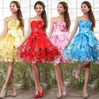 2015 new fashion The bride short strapless paillette lace bride evening dress bride dress tube top design short party dress