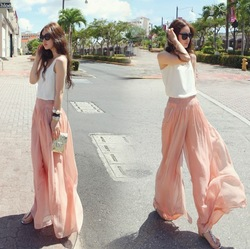 Partysu 2013 spring and summer Chiffon Skirt Pants Beach harem pants high waist wide leg pants dress trousers(China (Mainland))