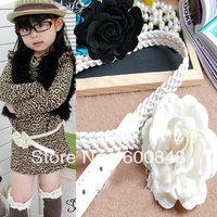 10pcs/lot 2013 girls fashion summer flower kids children belt beige/ black