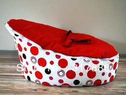 Free shipping CLASSICAL doomoo seat, red dots baby beanbag chair, kids sleeping sofa seat, snuggle beds(China (Mainland))