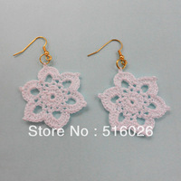 Chearp Jewelry Vintage earring white flower crocheted bohemia drop Handmade Bridal Earrings fashion wholesales 5 pair/lot