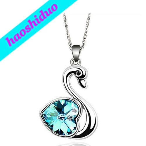 HOT Sell , Peach Heart Swan AUSTRIAN CRYSTALS ELEMENT Necklace for Women Birthday Present Rhinestone JEWELRY J2290(China (Mainland))