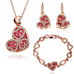 SQ18KRGPS016/Latest Design SWA Crystal Fashion Jewelry Set With 18K Rose Gold Filled Birthday Gifts Top Quality Not Lose Color(China (Mainland))