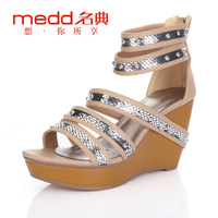 1994 women's shoes 2012 summer fashion british style paillette back zipper open toe wedges sandals l21381
