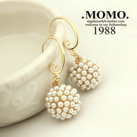 Accessories elegant ladies artificial pearl spherule ear hook earrings female gentlewomen jewelry