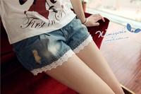 2013Fashion Summer new fashion lace denim shorts/maternity  women's jeans/hot sale pregnant pants/Wholesale/Retail  DC-002