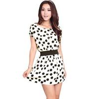 2014 women's spring one-piece dress o-neck chiffon black and white round dot dress size M L free shipping