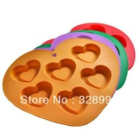 silicone Six hole Heart-shaped cake mold
