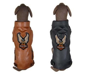 Pet dog clothes wellsore leather clothing eagle leather jacket embroidery large dog leather clothing outerwear large dog