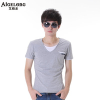 Male short-sleeve t T-shirt male personality V-neck male short sleeve shirt male short t-shirt new arrival