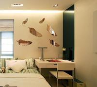 FREE SHIPPING  6pcs/set  Golden Silver  Black Stereo decorative mirror STICKER