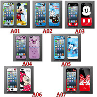 Fashion Mickey Mouse Style For iPhone 5 5G Film Case Front+Back Screen Protector