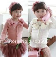 free shippping ! Sale 2013 New arrival Flower sweaters cardigan girls baby kids long sleeve tops coats princess shirt 5pcs