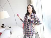 Maternity women plaid shirt plus size lattice shirt casual pregnant dress loose korea style women shirt XC-018