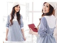 Spring and summer pregnant dress nurse clothing maternity one-piece dress long-sleeve cotton blue stripe women dressXC-011