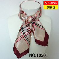 Summer silk scarf new arrival female fashion plaid faux silk magicaf silk scarf small 105 facecloth