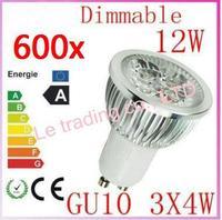 600pcs Dimmable GU10 4X3W 12W 4-CREE LEDS Led Lamp Spotlight 85V-265V Led Light downlight High Power free shipping