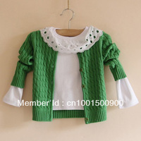 female child solid color sweater cardigan autum cotton twisted 100% children cardigan outerwear baby sweaters kid sweaters