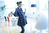2012 Hot sale maternity clothing shirt plaid shirt plus long sleeve maternity shirt  XC-005